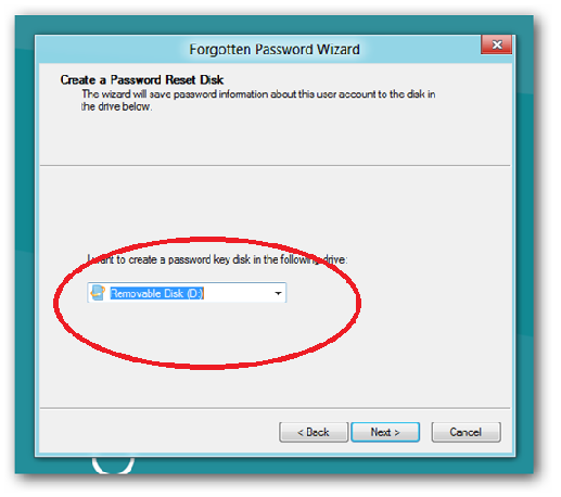 how to make a password reset disk windows 8