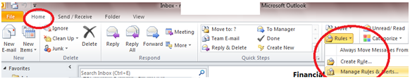 150 How to Enable Auto Email Forward Messages Rule in Outlook 2010