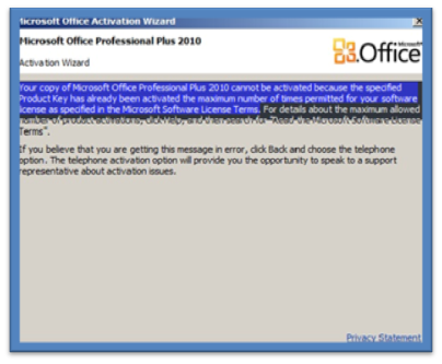 microsoft office 2010 telephone activation key