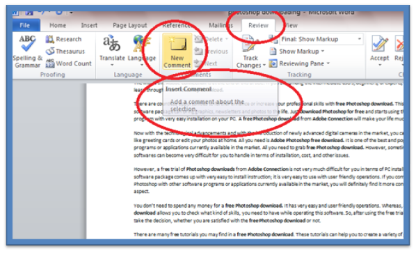 How to Add Comments to Word 2010 Documents | Information Technology