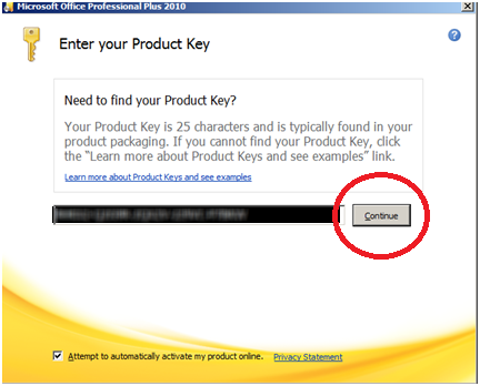 enter license key for office 2010